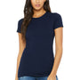Bella + Canvas Womens Navy Blue The Favorite Short Sleeve Crewneck T-Shirt