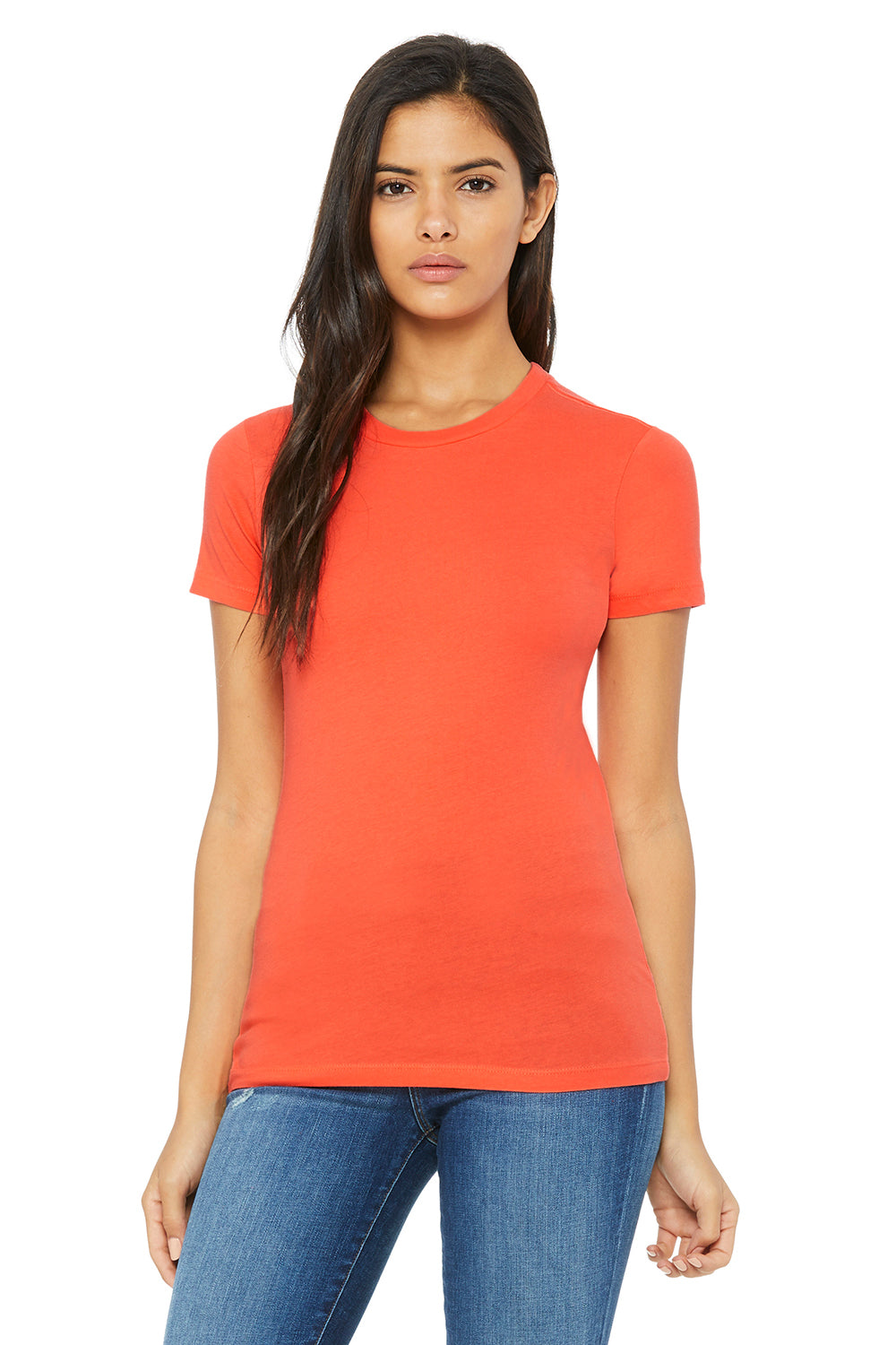 Bella + Canvas 6004 Womens The Favorite Short Sleeve Crewneck T-Shirt Coral Orange Front