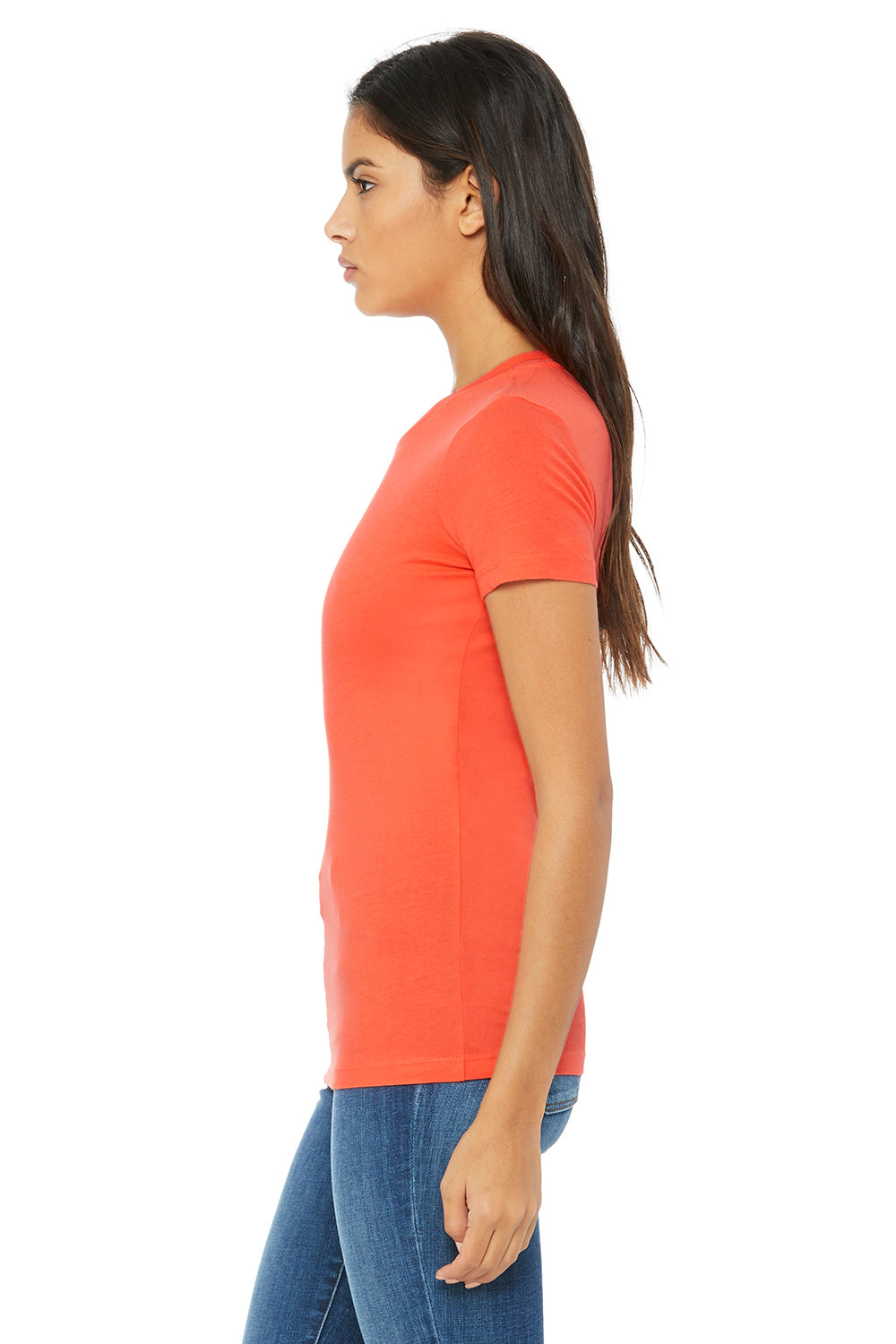 Bella + Canvas 6004 Womens The Favorite Short Sleeve Crewneck T-Shirt Coral Orange Side