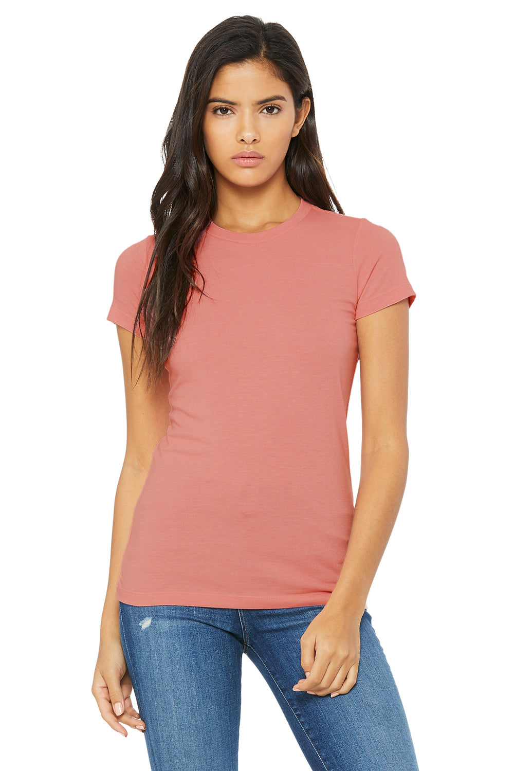 Bella + Canvas 6004 Womens The Favorite Short Sleeve Crewneck T-Shirt Heather Pink Front