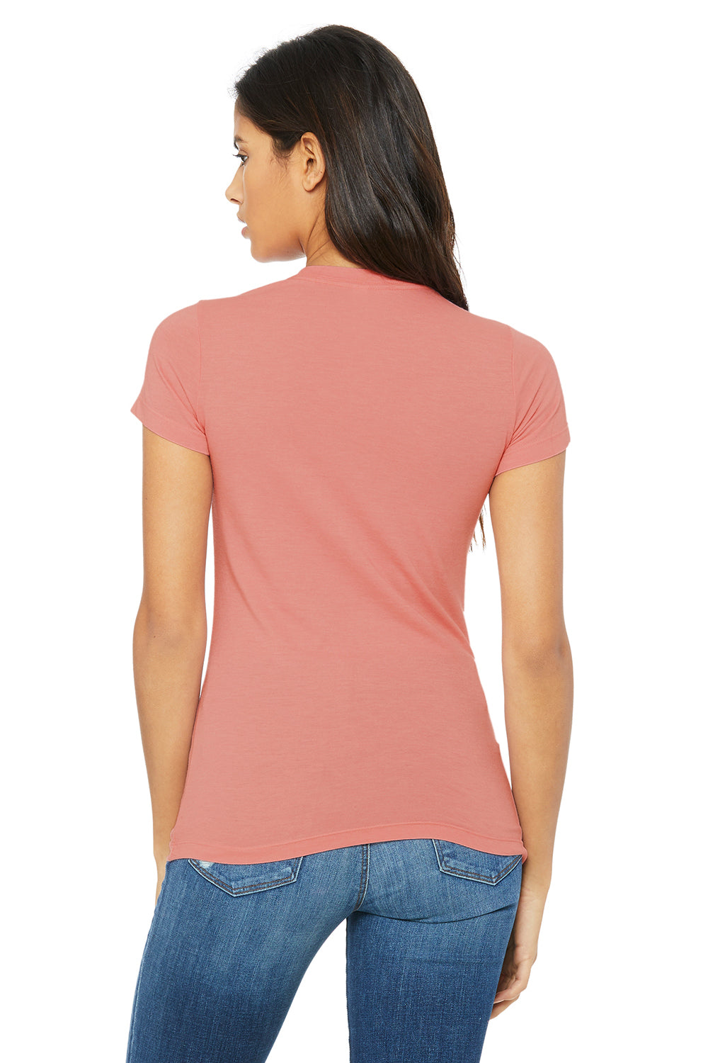 Bella + Canvas 6004 Womens The Favorite Short Sleeve Crewneck T-Shirt Heather Pink Back