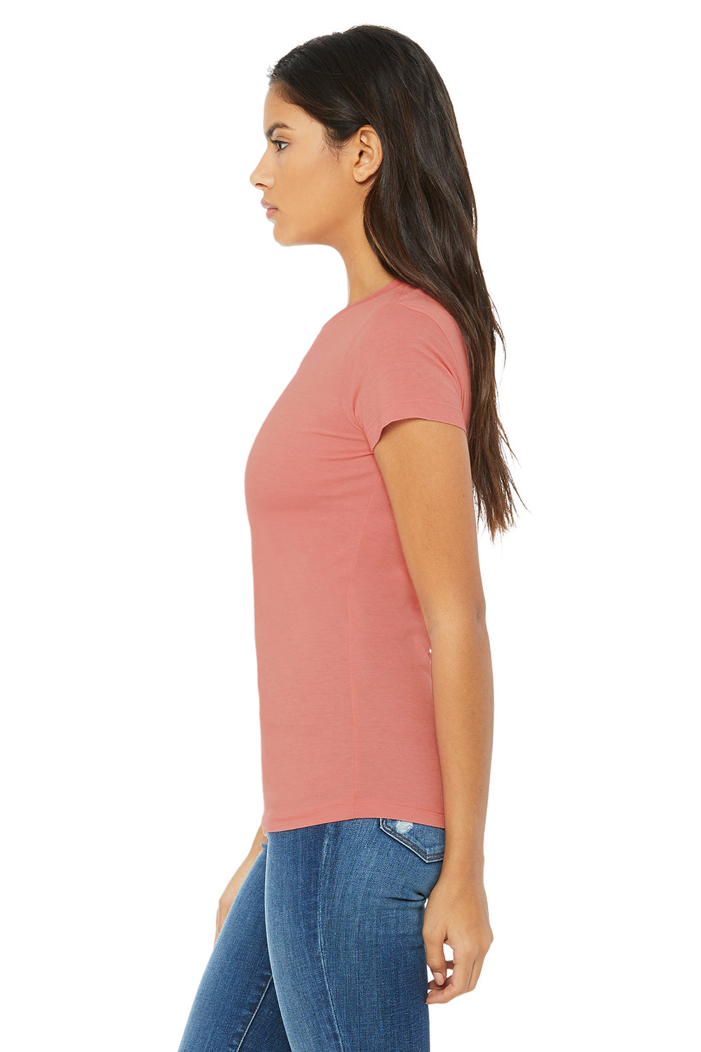Bella + Canvas 6004 Womens The Favorite Short Sleeve Crewneck T-Shirt Heather Pink Side