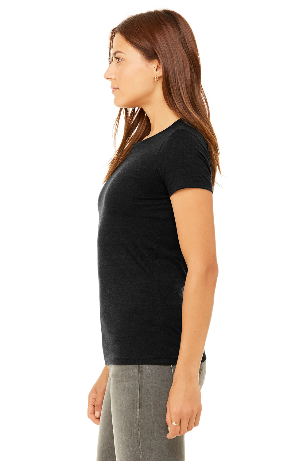 Bella + Canvas 6004 Womens The Favorite Short Sleeve Crewneck T-Shirt Heather Black Side