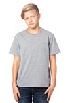Threadfast Apparel 600A Youth Ultimate Short Sleeve Crewneck T-Shirt Heather Grey Front