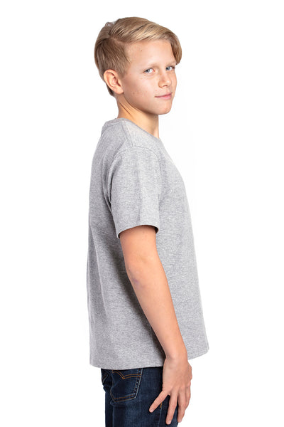 Threadfast Apparel 600A Youth Ultimate Short Sleeve Crewneck T-Shirt Heather Grey Side