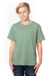 Threadfast Apparel 600A Youth Ultimate Short Sleeve Crewneck T-Shirt Heather Army Green Front