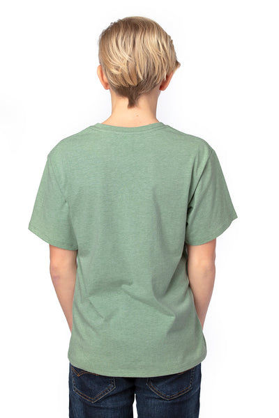 Threadfast Apparel 600A Youth Ultimate Short Sleeve Crewneck T-Shirt Heather Army Green Back