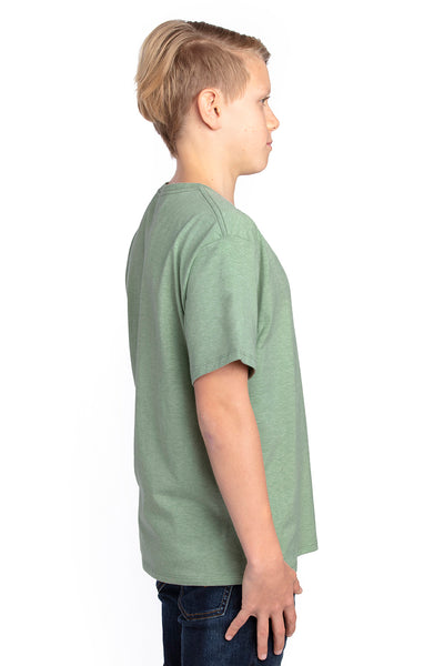 Threadfast Apparel 600A Youth Ultimate Short Sleeve Crewneck T-Shirt Heather Army Green Side