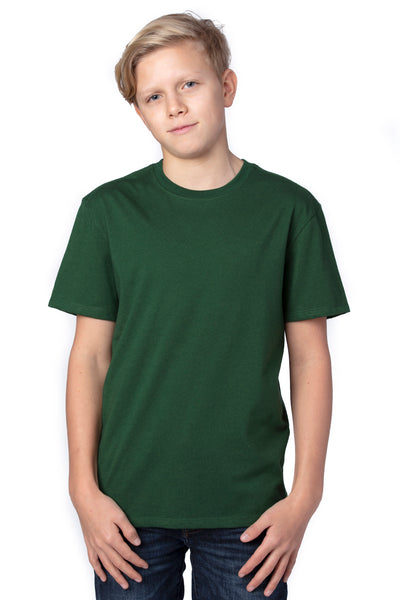 Threadfast Apparel 600A Youth Ultimate Short Sleeve Crewneck T-Shirt Forest Green Front