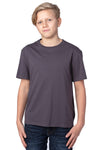 Threadfast Apparel 600A Youth Ultimate Short Sleeve Crewneck T-Shirt Graphite Grey Front