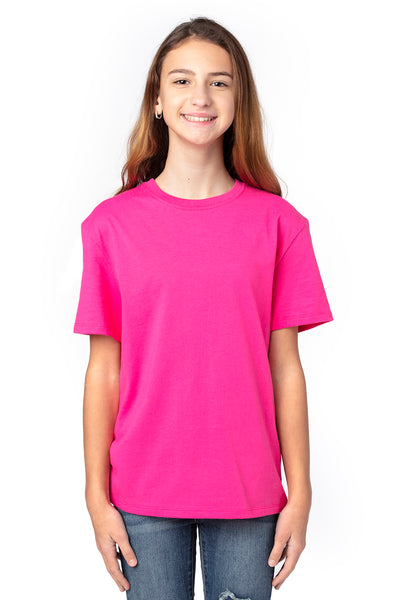 Threadfast Apparel 600A Youth Ultimate Short Sleeve Crewneck T-Shirt Hot Pink Front