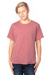 Threadfast Apparel 600A Youth Ultimate Short Sleeve Crewneck T-Shirt Heather Maroon Front