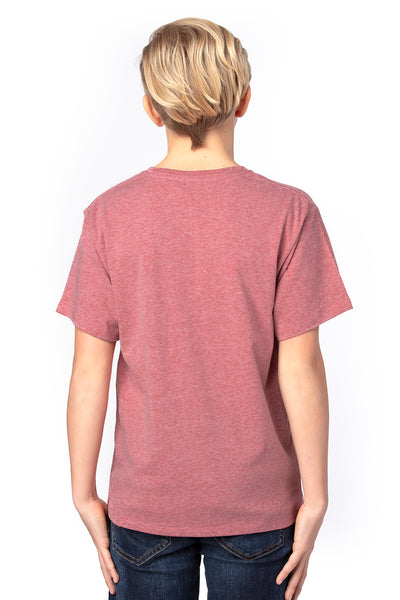 Threadfast Apparel 600A Youth Ultimate Short Sleeve Crewneck T-Shirt Heather Maroon Back