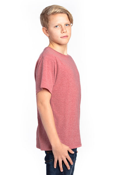 Threadfast Apparel 600A Youth Ultimate Short Sleeve Crewneck T-Shirt Heather Maroon Side