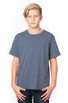 Threadfast Apparel 600A Youth Ultimate Short Sleeve Crewneck T-Shirt Heather Navy Blue Front
