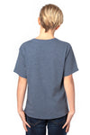 Threadfast Apparel 600A Youth Ultimate Short Sleeve Crewneck T-Shirt Heather Navy Blue Back