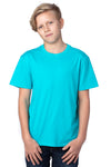 Threadfast Apparel 600A Youth Ultimate Short Sleeve Crewneck T-Shirt Pacific Blue Front