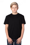 Threadfast Apparel 600A Youth Ultimate Short Sleeve Crewneck T-Shirt Black Front