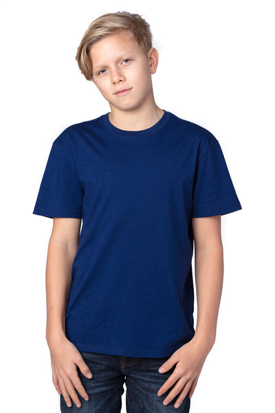 Threadfast Apparel 600A Youth Ultimate Short Sleeve Crewneck T-Shirt Navy Blue Front