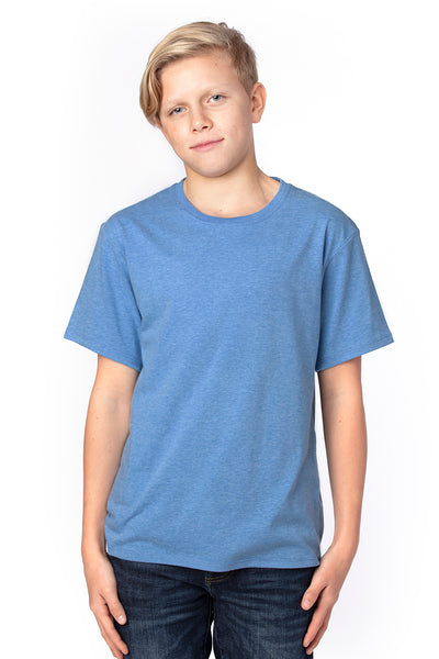 Threadfast Apparel 600A Youth Ultimate Short Sleeve Crewneck T-Shirt Heather Royal Blue Front
