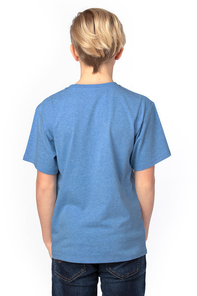 Threadfast Apparel 600A Youth Ultimate Short Sleeve Crewneck T-Shirt Heather Royal Blue Back