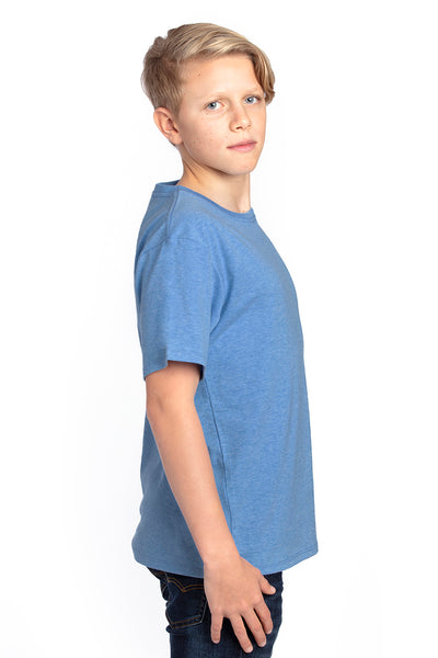 Threadfast Apparel 600A Youth Ultimate Short Sleeve Crewneck T-Shirt Heather Royal Blue Side