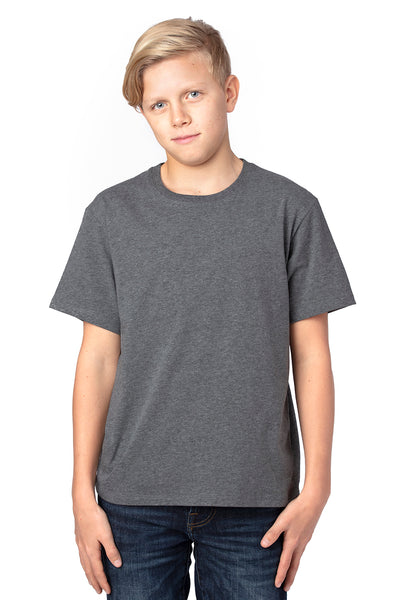 Threadfast Apparel 600A Youth Ultimate Short Sleeve Crewneck T-Shirt Heather Charcoal Grey Front
