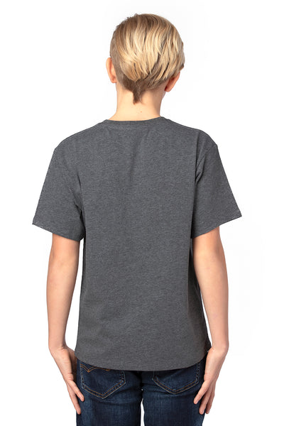 Threadfast Apparel 600A Youth Ultimate Short Sleeve Crewneck T-Shirt Heather Charcoal Grey Back