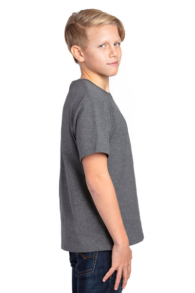 Threadfast Apparel 600A Youth Ultimate Short Sleeve Crewneck T-Shirt Heather Charcoal Grey Side