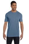 Comfort Colors 6030CC Mens Short Sleeve Crewneck T-Shirt w/ Pocket Blue Jean Front