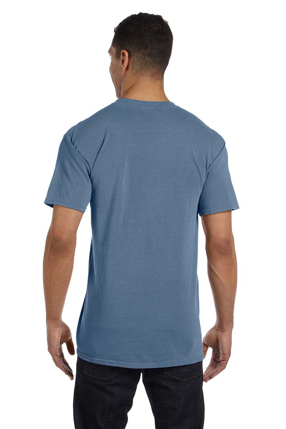 Comfort Colors 6030CC Mens Short Sleeve Crewneck T-Shirt w/ Pocket Blue Jean Back