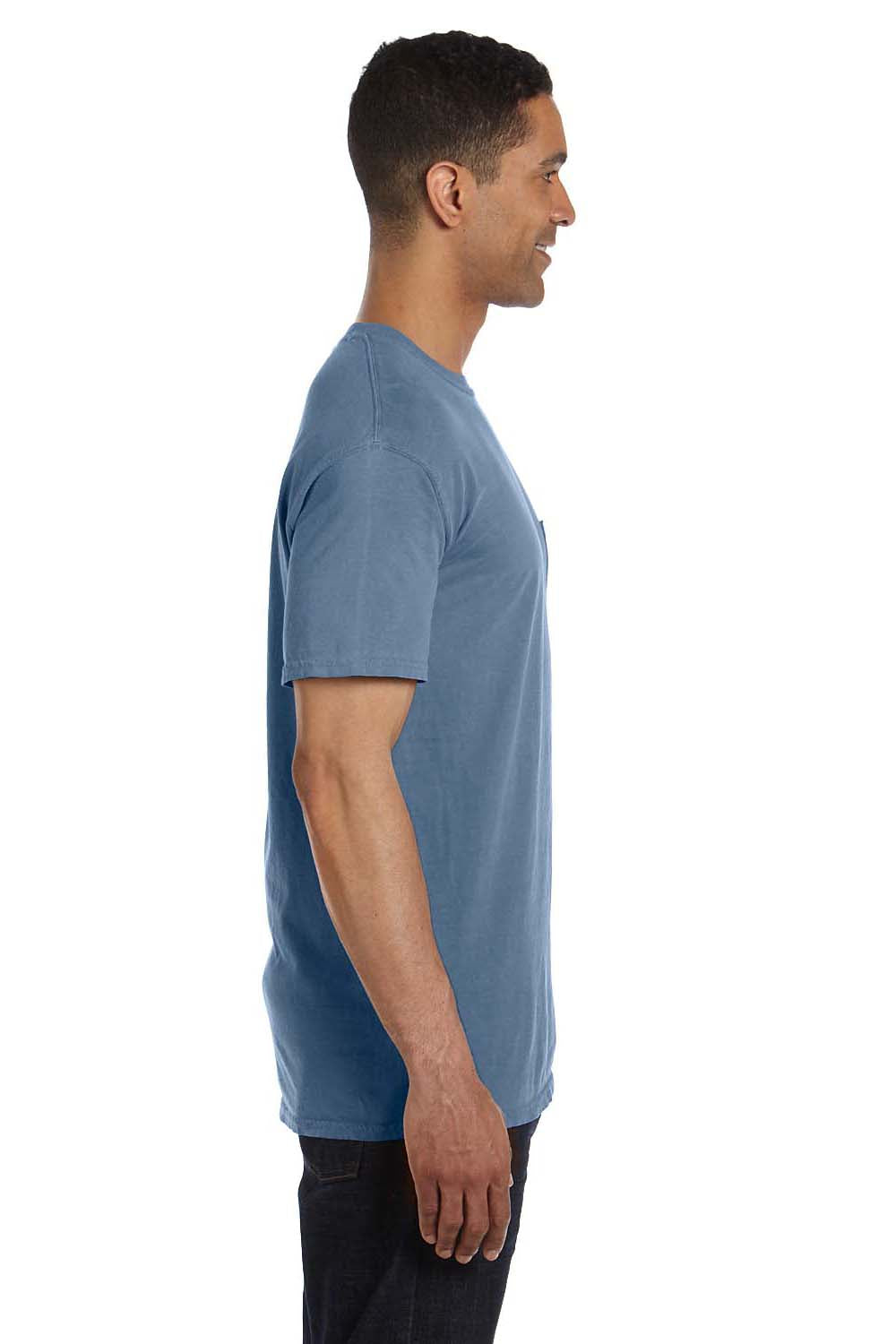 Comfort Colors 6030CC Mens Short Sleeve Crewneck T-Shirt w/ Pocket Blue Jean Side