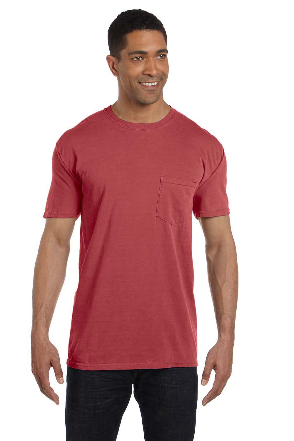 Comfort Colors 6030CC Mens Short Sleeve Crewneck T-Shirt w/ Pocket Crimson Red Front