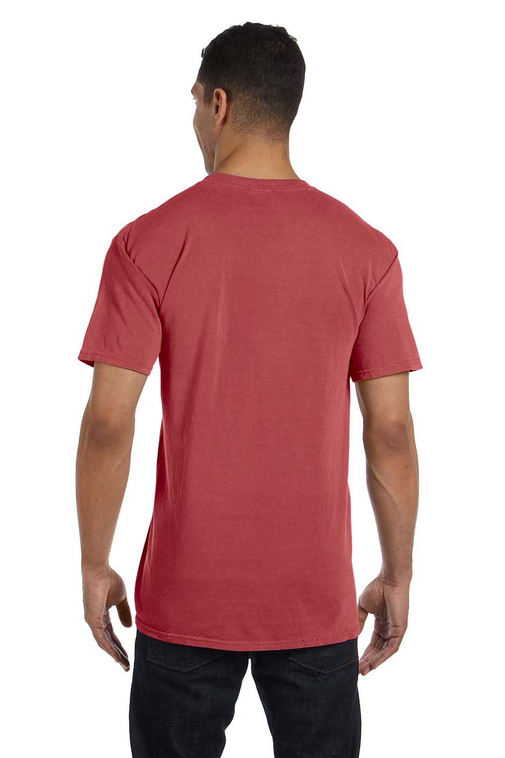 Comfort Colors 6030CC Mens Short Sleeve Crewneck T-Shirt w/ Pocket Crimson Red Back