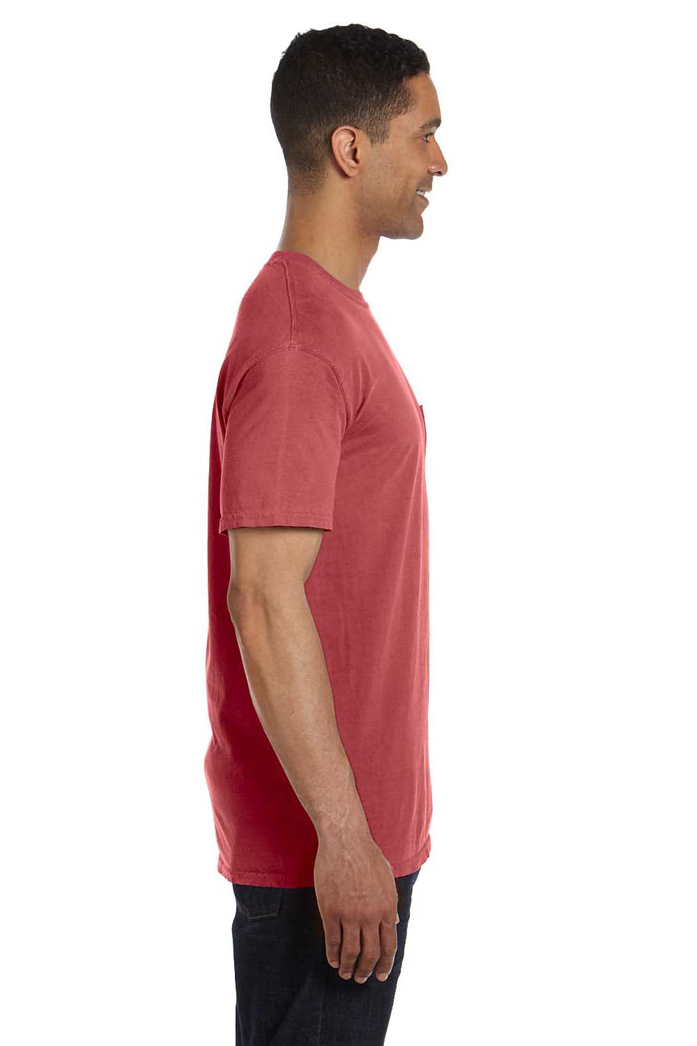 Comfort Colors 6030CC Mens Short Sleeve Crewneck T-Shirt w/ Pocket Crimson Red Side