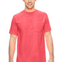 Comfort Colors Mens Short Sleeve Crewneck T-Shirt w/ Pocket - Neon Red Orange