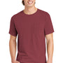 Comfort Colors Mens Short Sleeve Crewneck T-Shirt w/ Pocket - Brick Red