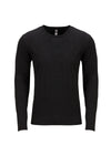 Next Level 6071 Mens Jersey Long Sleeve Crewneck T-Shirt Black Front