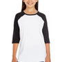 LAT Youth Fine Jersey 3/4 Sleeve Crewneck T-Shirt - White/Black
