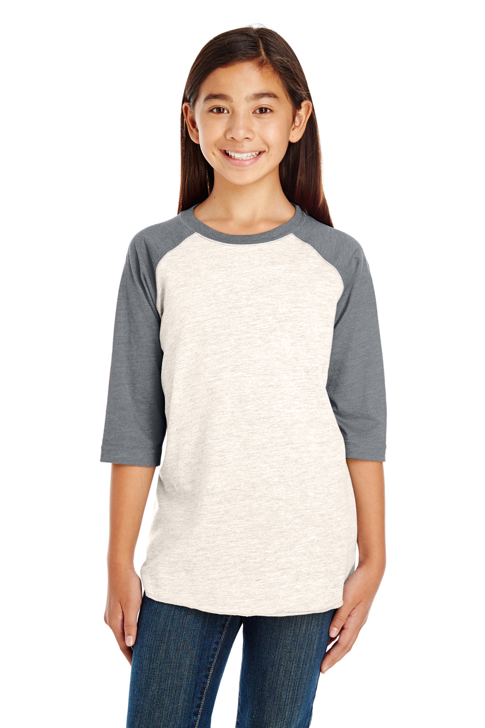 LAT 6130 Fine Jersey 3/4 Sleeve Crewneck T-Shirt Heather Natural/Granite Grey Front