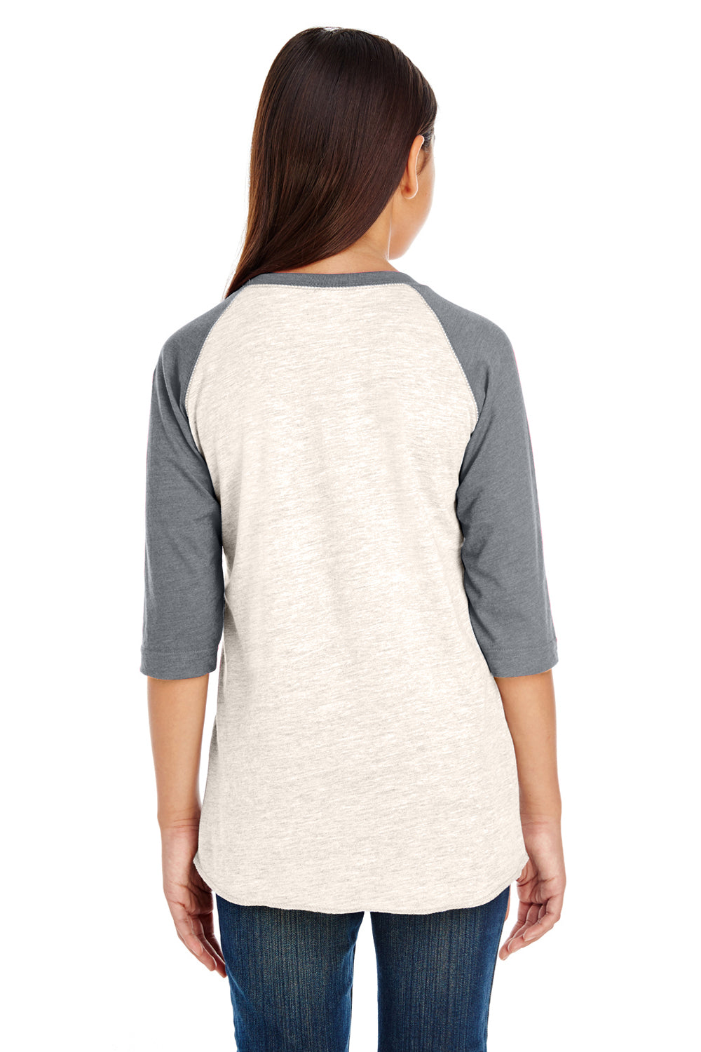 LAT 6130 Fine Jersey 3/4 Sleeve Crewneck T-Shirt Heather Natural/Granite Grey Back
