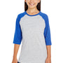 LAT Youth Fine Jersey 3/4 Sleeve Crewneck T-Shirt - Vintage Heather Grey/Royal Blue