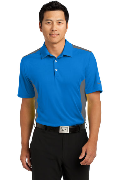 Nike 632418 Mens Dri-Fit Moisture Wicking Short Sleeve Polo Shirt Aero Blue/Dark Grey Front