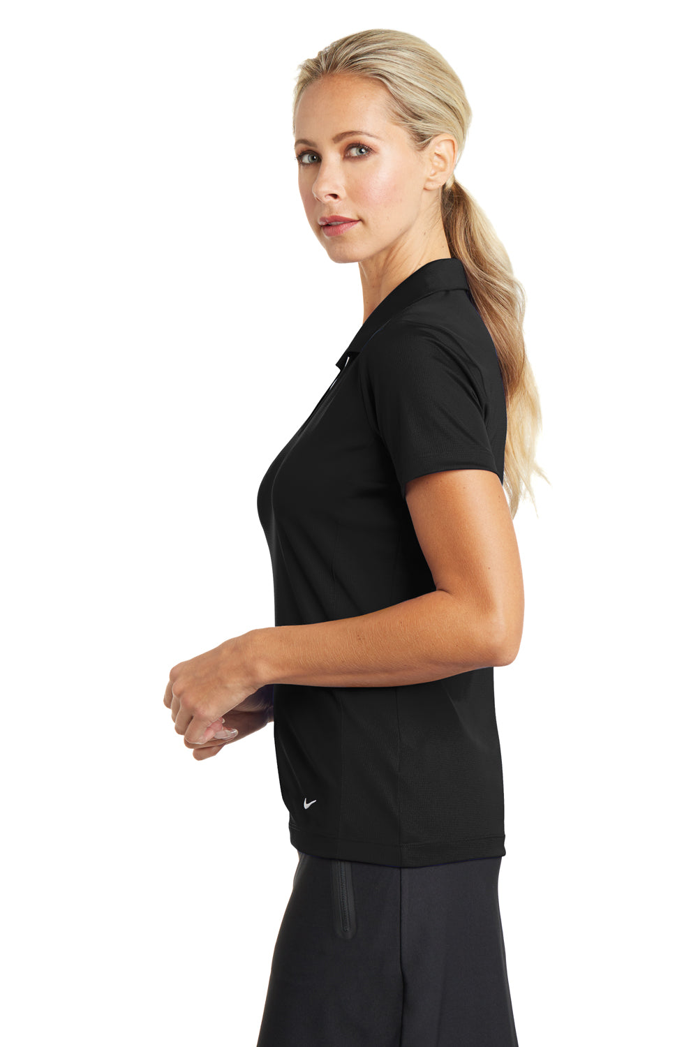 Nike 637165 Womens Dri-Fit Moisture Wicking Short Sleeve Polo Shirt Black Side
