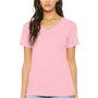 Bella + Canvas Womens Relaxed Jersey Short Sleeve V-Neck T-Shirt - Pink