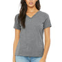 Bella + Canvas Womens Relaxed Jersey Short Sleeve V-Neck T-Shirt - Grey Triblend