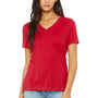 Bella + Canvas Womens Relaxed Jersey Short Sleeve V-Neck T-Shirt - Red