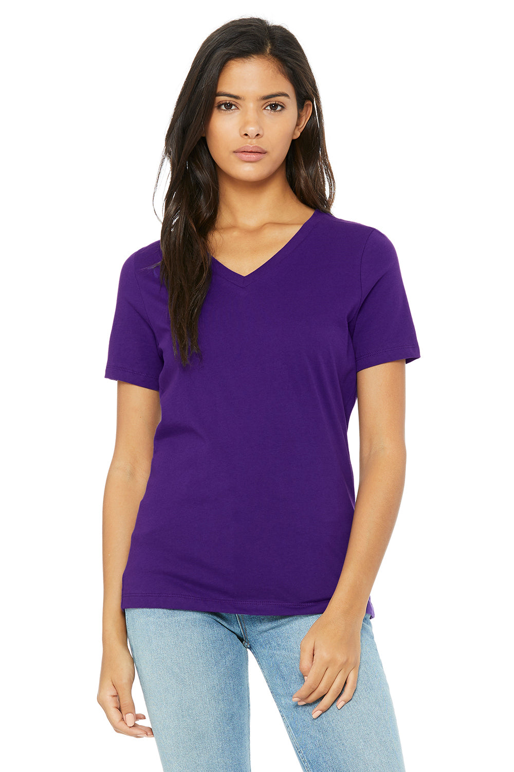 Bella + Canvas 6405 Womens Relaxed Jersey Short Sleeve V-Neck T-Shirt Purple Front