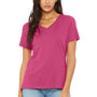 Bella + Canvas Womens Relaxed Jersey Short Sleeve V-Neck T-Shirt - Berry Pink
