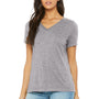 Bella + Canvas Womens Relaxed Jersey Short Sleeve V-Neck T-Shirt - Heather Grey